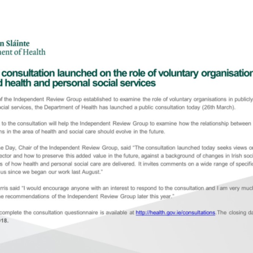 Public Consultation – Role of Voluntary Orgs Health and Social Services