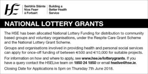 HSE National Lottery Grants 2018 Notice