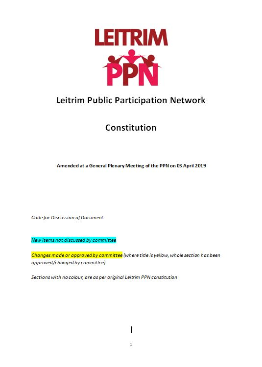 Cover of Amended Constitution of Leitrim PPN for link to document