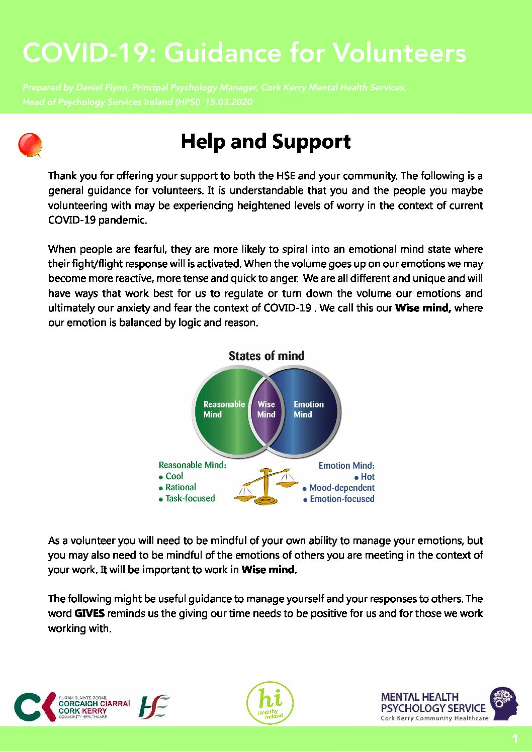 Guidance For Volunteers